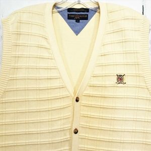Tommy Hilfiger Golf L Yellow Cardigan Sweater Vest